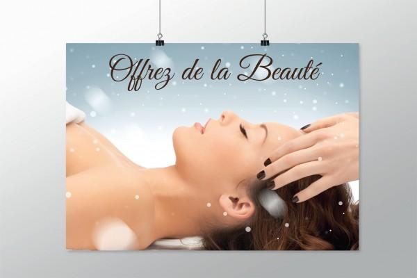 """Affiche pour décoration de Noël pour institut de beauté ou spa """"Offrez de la beauté"""""""