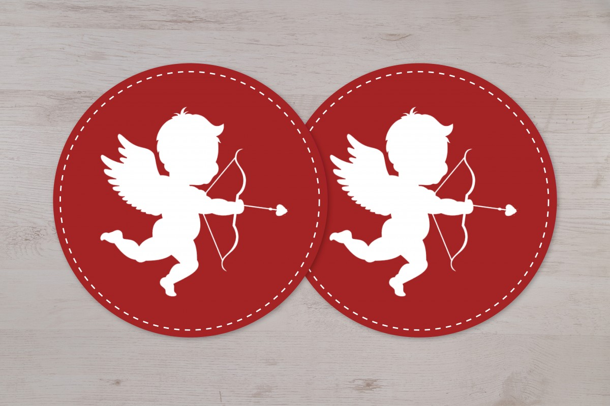 Lot de 2 autocollants vitrine Cupidon