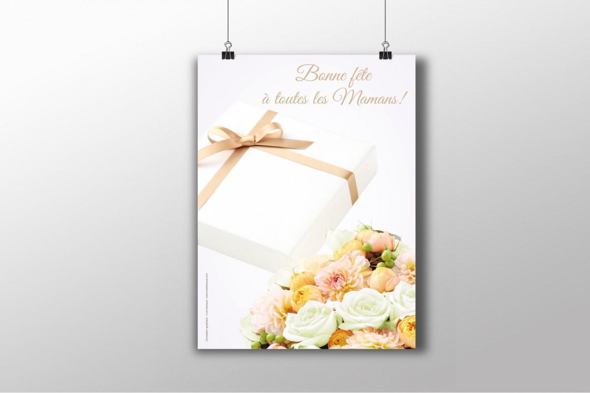 Affiche fête des mères motif fleurs pour faire la vitrine de son institut de beauté