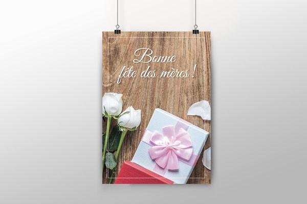 Affiche fête des mères motif rose A4